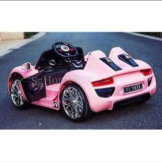 Instock - pink porsche electric ride on car for kids