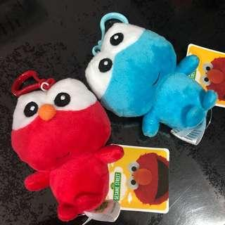 New (with tag) Elmo or Cookie Monster plush toy with key ring