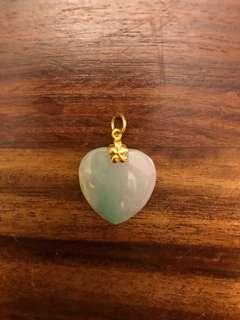 足金天然玉吊咀 jade pendant with 999 gold