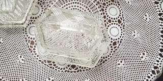 Vintage crystal butter rare butter dish with lid