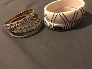 $2 white and black bracelets