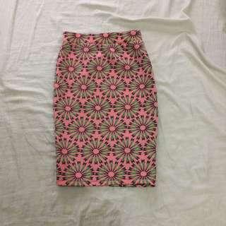 artwork slit bandage skirt