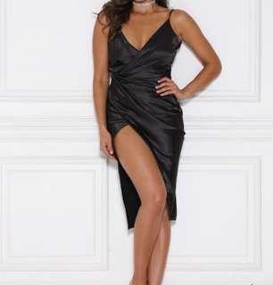 Meshki Satin Wrap Dress Black