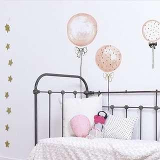 🚚 ✔️STOCK - 3pc KOREAN INS SWEET PRINCESS POLKA PINK BALLOON SET NEWBORN BABY GIRL NURSERY DECOR KIDS ROOM WALL DECAL GIFT