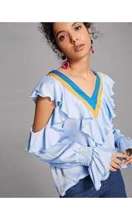 Ruffle blouse biru