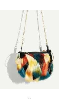 Rainbow fur slingbag