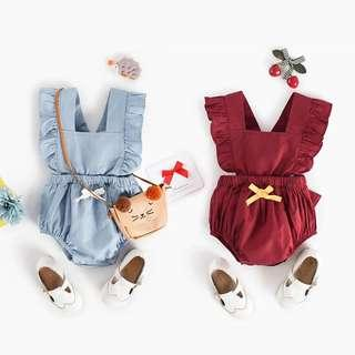 🚚 ✔️STOCK - RUFFLE STRAP BOW RIBBON CASUAL OVERALL ONESIE ROMPER NEWBORN BABY TODDLER GIRL KIDS CHILDREN CLOTHING