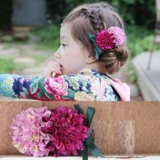 🚚 ✔️STOCK - PINK FUSCHIA TWIN PUFF FLORAL BABY TODDLER GIRL KIDS HAIR CLIP PHOTOSHOOT HEAD ACCESSORIES