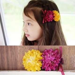 🚚 ✔️STOCK - SUNSHINE YELLOW PINK TWIN PUFF FLORAL BABY TODDLER GIRL KIDS HAIR CLIP PHOTOSHOOT HEAD ACCESSORIES