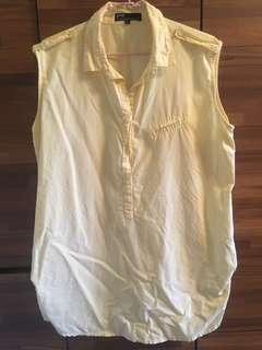 🚚 PAZZO 鵝黃色長版無袖襯衫