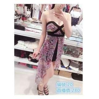 正韓 平口性感雪紡渲染前短後長包臀洋裝 性感洋裝 包臀洋裝 合身洋裝