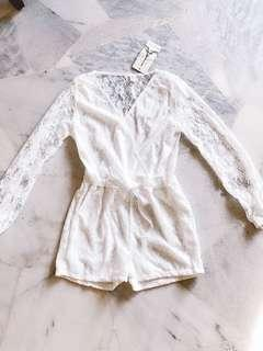 White Lace Long Sleeves Romper / Jumpsuit #SINGLES1111