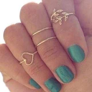 4 pcs Heart Leaf Double Band Gold Plated Midi Knuckle Rings