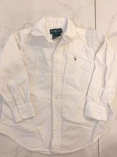 Ralph Lauren White Shirt long sleeve 4/4T
