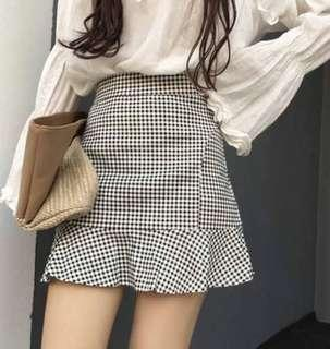 Checkered Plaid A-line Short Skirt