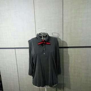 Grey silk polo shirt from Japan