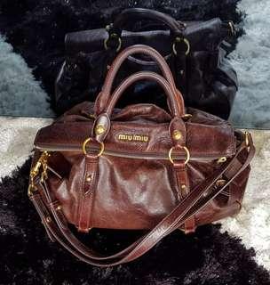 Auth Miu Miu Vitello Lux Bow Bag Calf Leather Vintage Tote Bag
