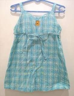 Pooh Wraparound Blue Plaid Dress