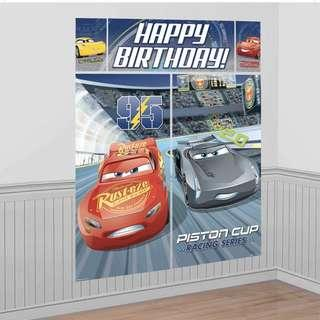 Licensed Disney Cars Party supplies - Cars scene setters / party deco / birthday banner