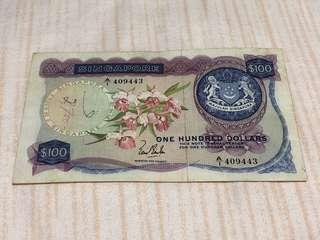 1967 Singapore $100 Orchid with First Prefix A/1 409443