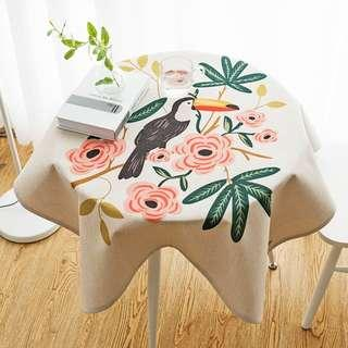 Forest Toucan Parrot Table Cloth, 清新森林大嘴鳥枱布