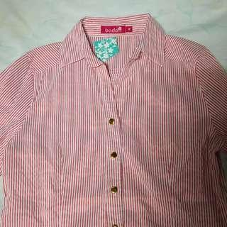 NEW Pink Pinstripe Long Sleeve Polo