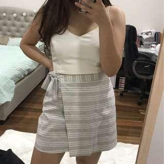 Women's grey bow tie striped skirt