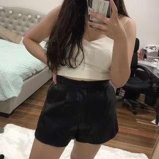 High waisted leather shorts with pockets