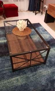 Glass with wood base coffee table #singles1111 #sbux50