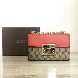 Authentic gucci padlock red small