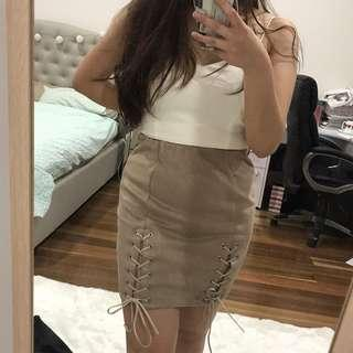 Suede laced up bodycon skirt