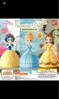 全新 Bandai Capchara Disney 迪士尼公主扭蛋一套三款 白雪公主 貝兒 灰姑娘 $140