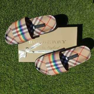 Burberry Vintage Rainbow Check Slides