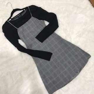 Checked dress with back bow tie detailing
