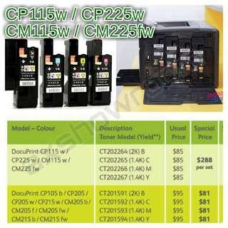 Colour Toner Cartridge For : Fuji Xerox CP115w CP225w CM115w CM225fw  CT202264 - Black / CT202265 - Cyan / CT202266 - Magenta / CT202267 - Yellow