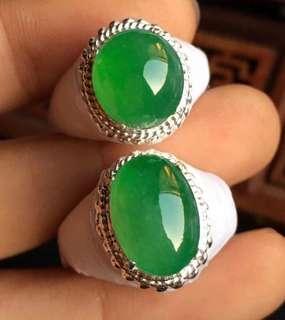 Green cabochon ring surface jadeite