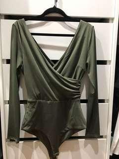 Khaki long sleeve bodysuit - kookai material