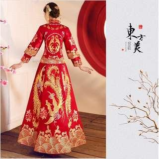 Readystock Muslimah Kua Phoenix Chinese gold red long sleeve cheongsam wedding dress gown RBMWD0158