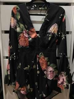 Floral playing with back bow tie and cut out detailing