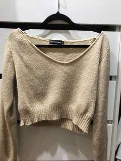 Pretty little things cropped thin knitwear caramel