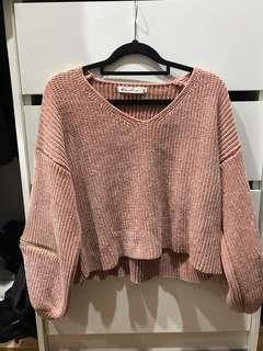 Pink knitwear with zip detailing