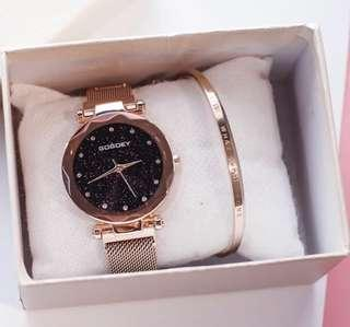 Rose gold metal magnet strap watch includes bracelet