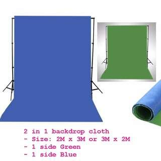 2 in 1 Green and Blue backdrop cloth