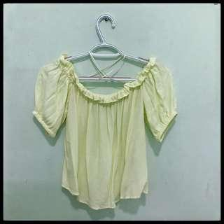 Bershka Yellow Off Shoulder Top