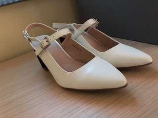 White chunky heels from Something Borrowed