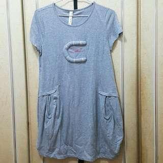 【全新】A LA SHA灰色長版純棉短袖上衣S