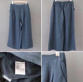 🚚 yolatengo 優雅藍綠色麻料厚打摺寬褲 寬褲裙 正韓貨