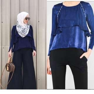 Neelofa x FV navy blue top