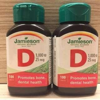 全新加拿大Jamieson維他命D 100粒