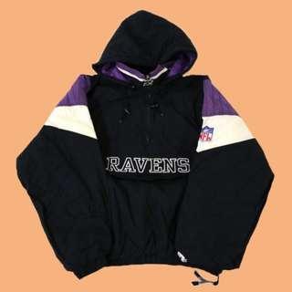 JCI:Vintage Starter NFL 巴爾的摩 烏鴉隊 半拉連帽套頭風衣 / 古著 / 90s / 嘻哈